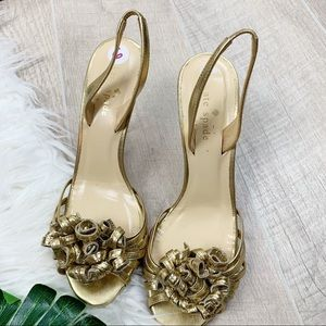 kate spade Shoes - Kate Spade Gold Napa Colby Frill Heel Sandal sz. 6